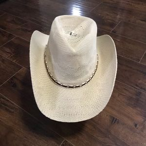 Cream Cowboy Hat with Adjustable Cord NWT